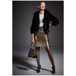 Michael Kors Sequin Cheetah Pencil Midi Skirt
